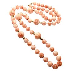 "35"" 143gr 17mm Natural Untreated Angel Skin Salmon Shou Japanese Coral Necklace 14K Gold Clasp"