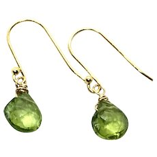 Fine Faceted Drop Peridot Earring 14K GF and Gold Vermeil