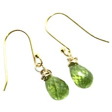 Fine Briolette Drop Peridot Earring 14K GF and Gold Vermeil