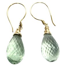23ct Briolette Drop Green Amethyst Earring 14K GF and Gold Vermeil