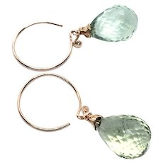 29ct Briolette Drop Green Amethyst Earring 14K GF and Rose Gold Vermeil