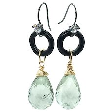 25ct Green Amethyst and Black Onyx Earring 14K GF and Sterling
