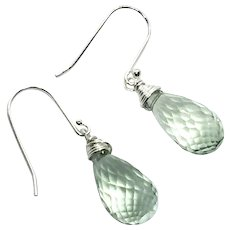 10ct Green Amethyst Briolette Drop Earring Sterling Silver