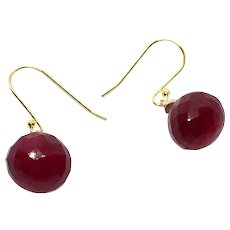 10mm Ruby Drop Earring 14k GF and Gold Vermeil