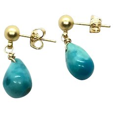 Sleeping Beauty Turquoise Drop Earring 14K GF and Matte Gold Plate