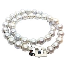 11mm Natural Silver Color Freshwater Pearl Necklace Sterling Silver Clasp