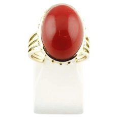 Vintage 14K Red 18mm Sardinia Coral Gold Ring