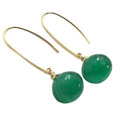 27ct Green Onyx Onion Cut Earring 14K GF and Vermeil