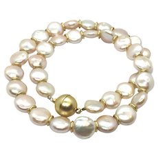 11-12mm Champagne Gold Coin Pearl Necklace