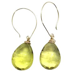 32ct Sparkly Lemon Quartz Earring 14K Gold Filled Ear Wire