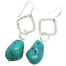 Sterling Silver Turquoise Nugget Earring
