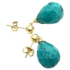 Faceted Drop Turquoise Earring