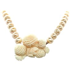 95ct Carved Chrysanthemum Angel Skin Coral and Pearl Necklace 14K GF and Rose Vermeil