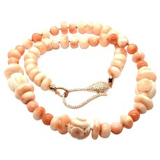 Angel Skin Salmon Coral Carved Shou Beads Necklace and Earring Set RG Vermeil