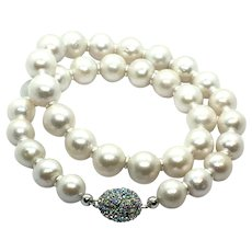12.5mm to 15mm White Freshwater Cultured Pearl Necklace Swarovski Crystal Clasp like South Sea
