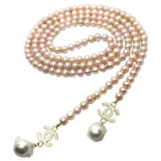 "48"" Pink Freshwater Pearls Rope Necklace with White Baroque Pearl and Enamel Charms Dangler"