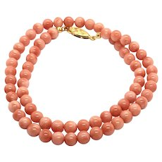 6.5mm Natural Pink Salmon Red Angel Skin Coral Necklace