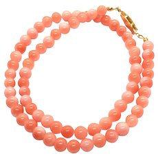 6.5mm AAA Natural Pink Salmon Red Angel Skin Coral Necklace
