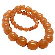 86gr 100% Real Baltic Amber Butterscotch Caramel Necklace 1920's Art Deco