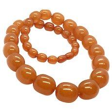 86gr 100% Real Baltic Amber Butterscotch Caramel Necklace 1920's Art Deco