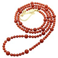 21gr Antique Red Mediterranean Coral Necklace Gold Vermeil Restrung