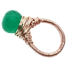 Hand Wired Made to Order 10ct Green Onyx Ring Onion Cut in Sterling silver or 14k Gold Filled
