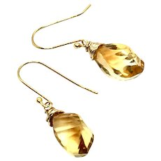 9ct Golden Yellow Citrine Earring Gold Vermeil and 14k GF