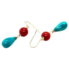 Sleeping Beauty Turquoise Coral Drop Earring 14K GF and Vermeil