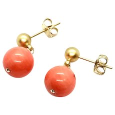 10mm Pink Coral Dangling Earring Matte Gold Plate Stud