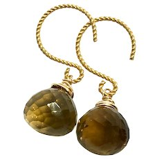 20ct Whiskey Quartz Earring Gold Vermeil and GF