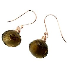 18ct Whiskey Quartz Earring Rose Gold Vermeil and RGF