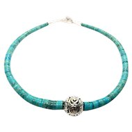 Rolled Heishies Turquoise Sterling Necklace