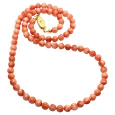 "17"" 5-5.5mm New Vintage Pink Salmon Angel Skin Coral Necklace"