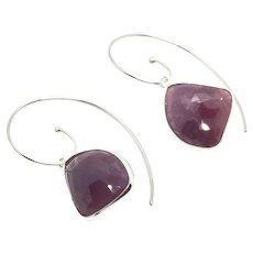 24ct Natural Untreated Rubies Pink Sapphire Rose Cut Sterling Silver Earring