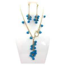 Blue Turquoise Lariat Necklace Earring Set 14k GF