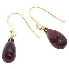 10ct Red Garnet Drop Earrings 14K GF and Vermeil