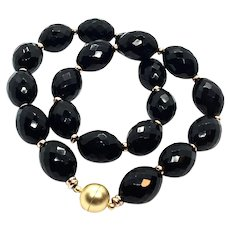 Large Olive Shape Black Onyx Necklace Matte Gold Plate Clasp