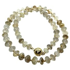 150ct Natural Gold Rutilated Quartz 8-8.5mm Faceted Rondelles Necklace