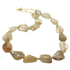 390ct Natural Untreated Chunky Gold Rutilated Quartz Necklace