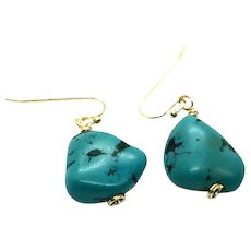 Natural Turquoise Nugget Earring 14K GF and Vermeil