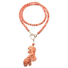 Angel Skin Pink Carved Flower Coral Detachable Pendant and 6mm Salmon Coral Necklace