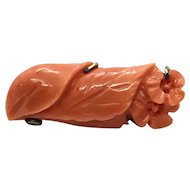 Intense Salmon Color Carved Coral Flower Brooch Pin