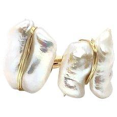 Large White FW Biwa Pearl Cufflinks