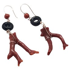 Natural Red Italian Coral Branch and Black Onyx Earring 14K Rose Gold Filled