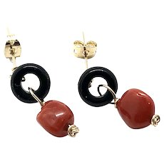 Red Italian Coral and Black Onyx Earring 14K Gold Filled