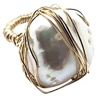 Large 20mm White FW Baroque Pearl Ring 14K Gold Filled size 5