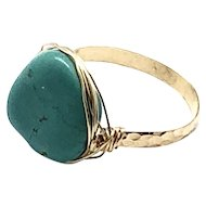 Turquoise Handmade Ring 14K Gold Filled