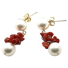 14K 9.5mm White FW Pearl and Red Coral Earring Handmade