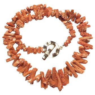"Red Salmon Momo Coral Branch Necklace 22"" 80 grams"
