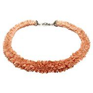 Rare!  Stunning Woven Lei Style Angel Skin Coral Flower Necklace